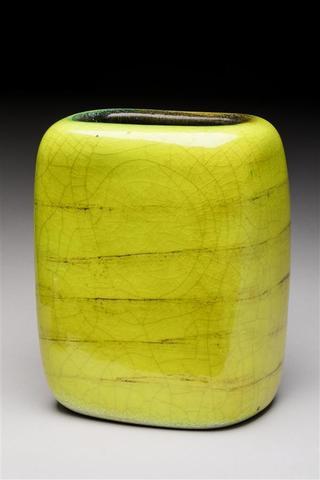 """Georges JOUVE (1910-1964). Vase """" Galet """" à corps rectangulaire aplati"""