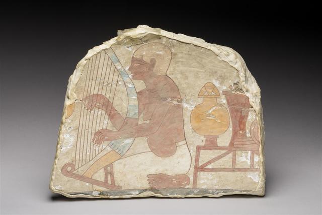 """Harpiste """"aveugle"""". Fragment de peinture murale représentant un harpiste"""