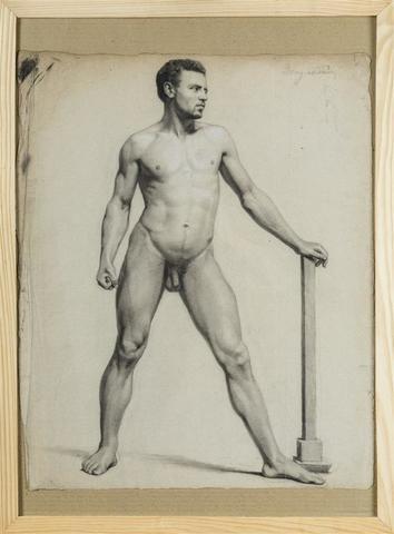 """William BOUGUEREAU (1825-1905). """"Nu d'homme"""". Dessin au crayon avec"""
