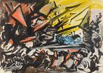 """Édouard PIGNON (1905-1993)  """"Bataille""""  Acrylique sur toile, signée"""