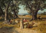 José ALSINA ( 1850 - ?) Le repos sous les arbres  Huile sur toile