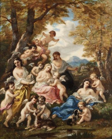 Narcisse DIAZ de la PENA (Bordeaux 1807 - Menton 1876)  Scène champêtre