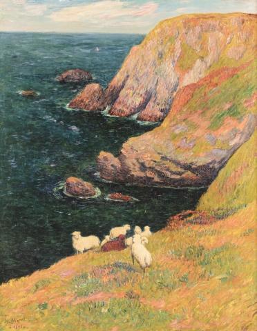 Henry MORET (Cherbourg 1856 - Paris 1913)  Falaises et moutons A Groix