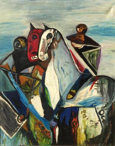 HUGO SCHEIBER (1873-1950), « Cavaliers »,  Huile sur toile. Signée