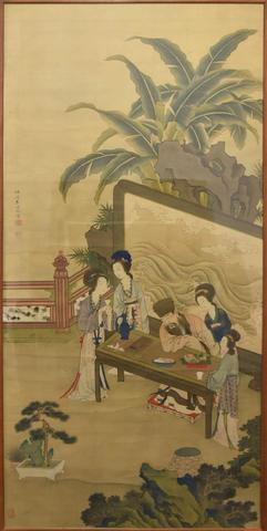 CHINE, peinture aquarellée sur soie, figurant un grand lettré entouré