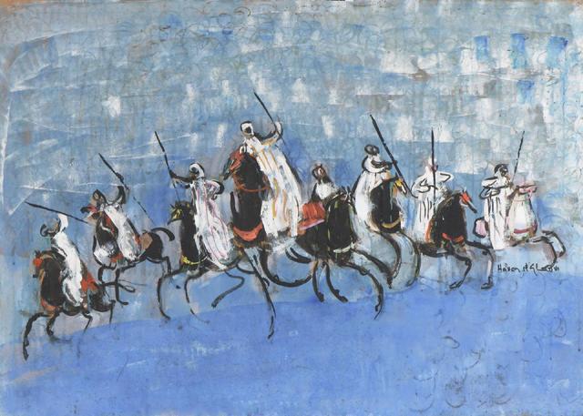 Hassan EL-GLAOUI (né à Marrakech en 1924). Cavaliers orientaux. Gouache