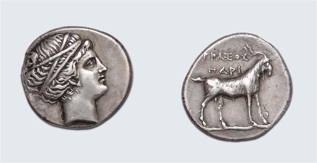 Paros (IIIe-IIe siècle av. J.-C.) Didrachme. 7,62 g. Tête de nymphe