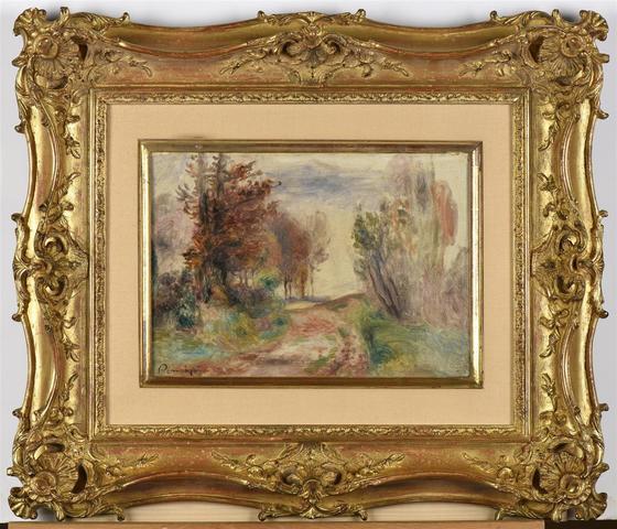 """Auguste Renoir (1841-1919) """"Paysage, chemin à la sortie d'un bois"""""""