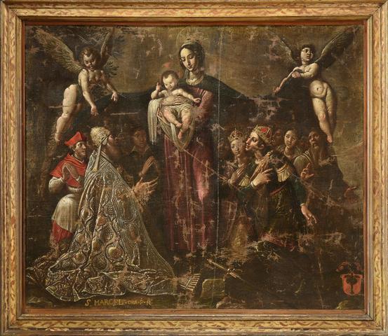 ECOLE FLORENTINE Vers 1600. La Vierge avec l'Enfant Jésus, le pape