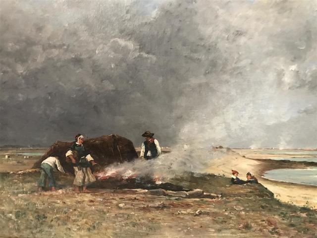 Louis Aimé  JAPY (1840-1916). Le brûlage du goémon en Pays Bigouden. Huile