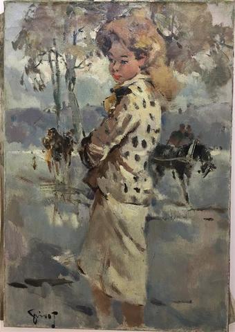 Pierre GRISOT (1911-1995). Parisienne blonde. Huile sur toile signée