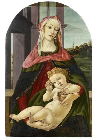 """BOTTICELLI Sandro (1445-1510) et son atelier """"La Vierge à la Grenade,"""