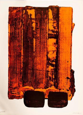 """Pierre SOULAGES (1919). """"L. n°34"""". Lithographie couleur signée en"""