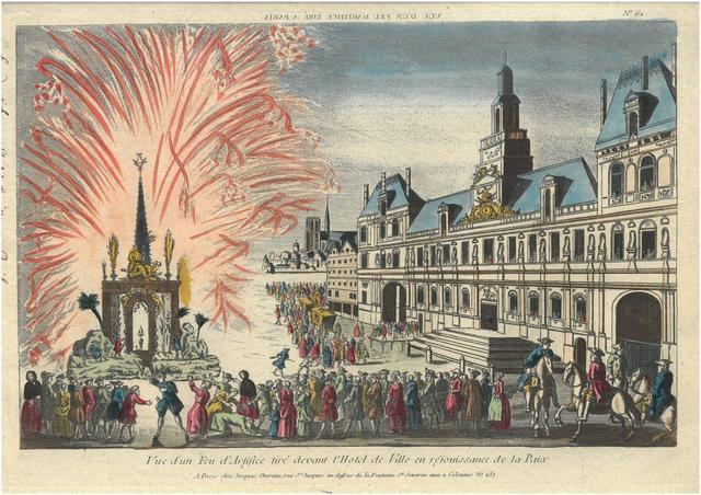 ENSEMBLE de 14 vues d'optiques aquarellées de la ville de PARIS. Gravures