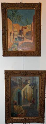 LOUIS CABANES (1867-1947) Paire d'huiles sur toile représentant Biska