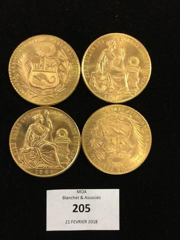 Quatre pièces en or de 100 sols pEruvien.de 1964 Poids: 187g
