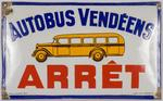 Autobus Vendéens - Plaque en émail bombée, destinée aux arrêts