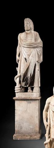 DANS LE GOUT DE L ANTIQUE Esculape en pied Sculpture en marbre blanc Titrée