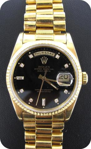 ROLEX : Montre or 750 mil., modèle Oyster Perpetual Day-Date, fond