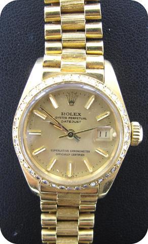 ROLEX : Montre de dame or 750 mil., modèle Oyster Perpetual Datejust,