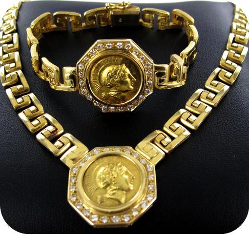 1 collier motif brillants, 67.7g or 750 mil., 1 bracelet assorti,