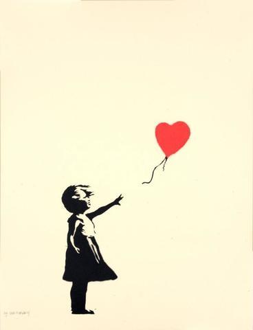 BANKSY (Britannique, né en 1975) Girl with Balloon, 2004 Sérigraphie