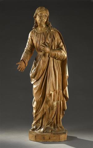 Saint personnage Sculpture en bois sculpté  H. 89 cm Fente, une main