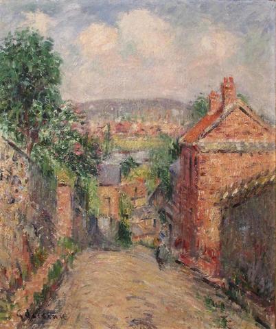 """Gustave LOISEAU - """"Rue de Thuringe - Bonsecours"""" huile sur toile signée"""