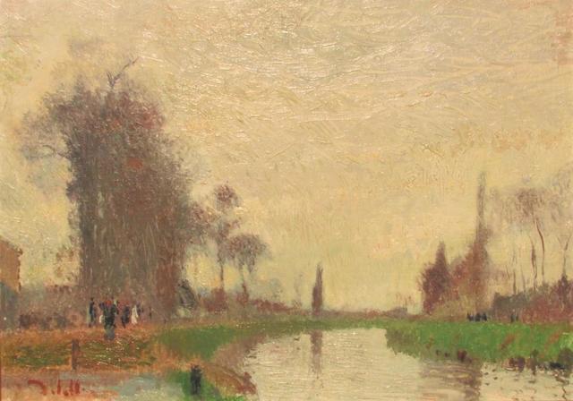 """DELATTRE Joseph (1858 - 1912) """"Les bords de l'Eure"""" Huile sur toile"""