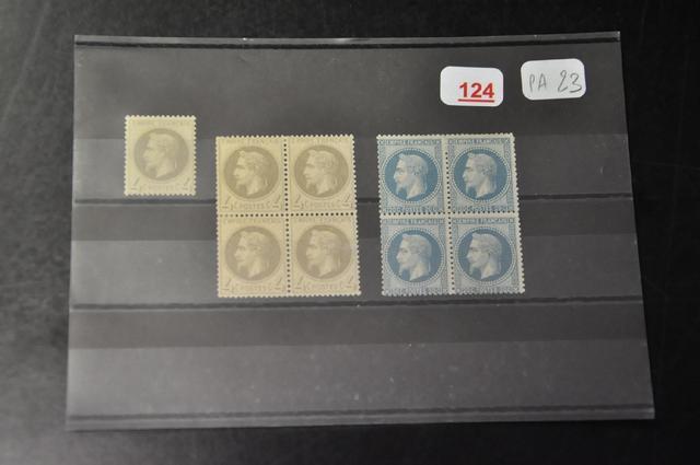 1 lot de timbres au type Empire lauré neufs n° 27*, n° 28* en bloc