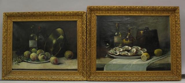 """J. FRASNETTI. """"Natures mortes aux huîtres et aux pêches"""". Deux huiles"""