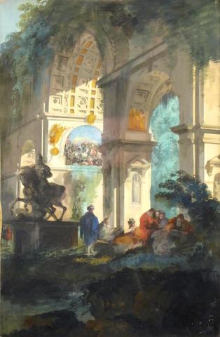 Giuseppe Bernardino BISON (1762-1844) attribué à : Promeneurs dans