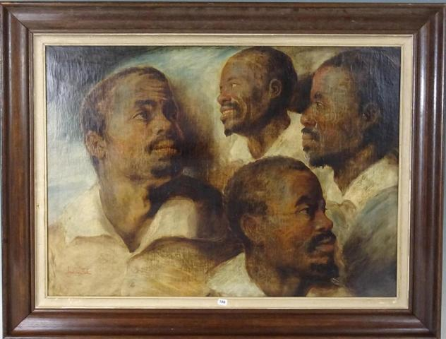 Quatre études de la tête d'un homme noir. Huile sur toile. Porte