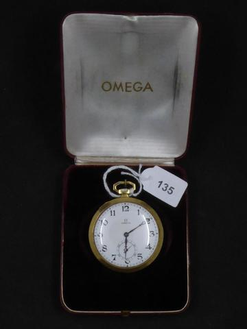 OMEGA : Montre de gousset en or. Diam. : 4.6 cm. Poids total. : 61