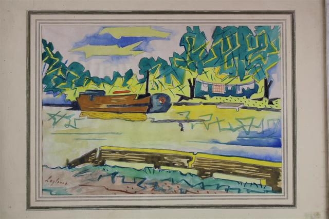 Jean-François LAGLENNE (1899 - 1962).  « Choisy au bac ». Aquarelle