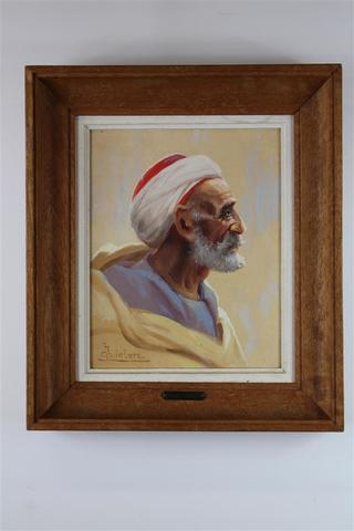 Charles LIEBERT.  « Arabe de profil ».  Huile sur toile signée