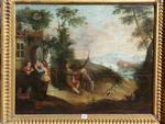"""ECOLE FRANCAISE Vers 1700: """"Villageois devant leur maison dans la"""