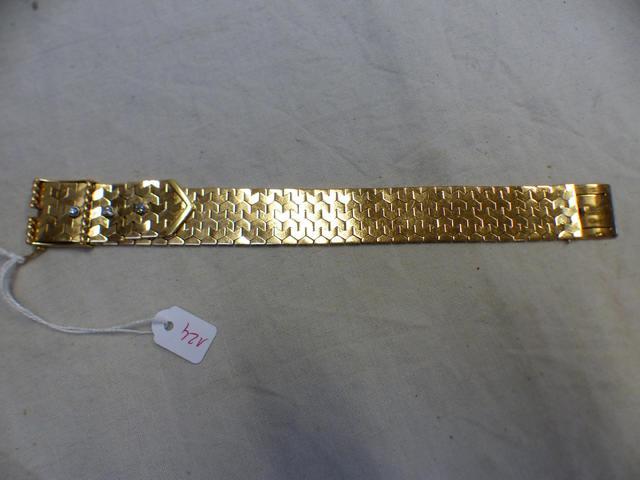 Bracelet bandeau en or à mailles tressées façon textile, fermoir