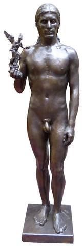 Raymond MARTIN (1910-1992) L' HOMME AU TROPHÉE Bronze à patine