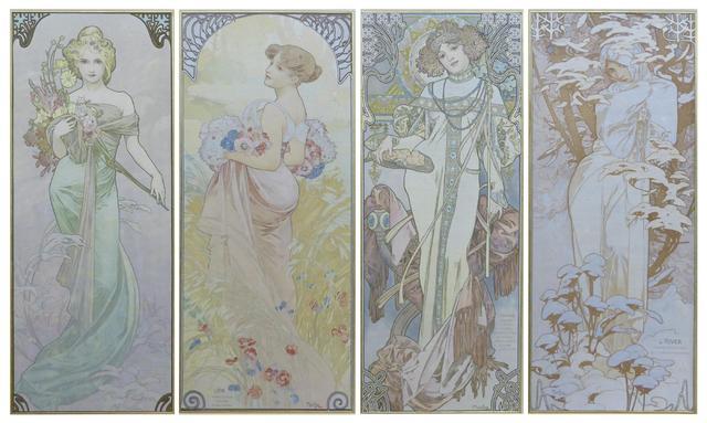 Alphonse MUCHA (1860-1939)  Les saisons 1900  Suite de 4 lithographies