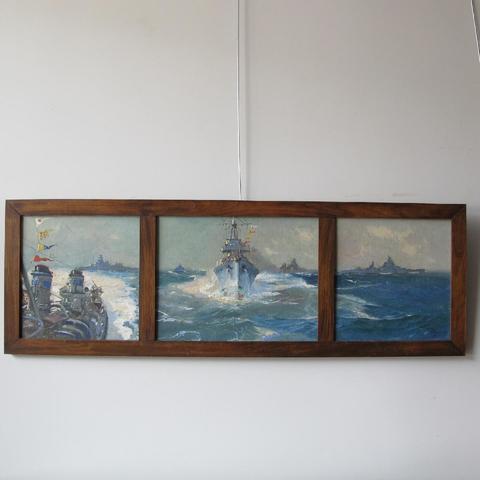 """Jean-Louis PAGUENAUD peintre de la Marine """"Les Cuirassés"""" (toile"""