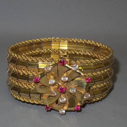 Bracelet or 750 creux avec rosace et pierres de couleur (pds brut