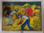 Pierre AMBROGIANI (1907-1985) La moisson Huile sur panneau Signée