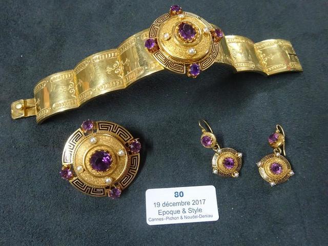 PARURE 3 PIECES - Circa 1870 en or jaune, émail, perles et pierres