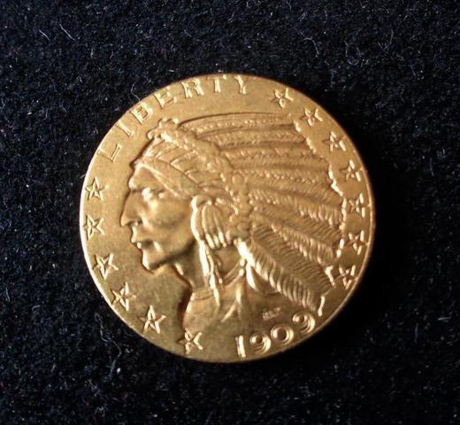 Piece de Monnaie de 5 DOLLARS en or de 1909