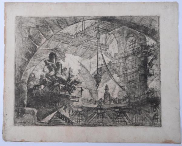 PIRANESE (1720-1778): Eau forte de la serie des prisons, planche sur