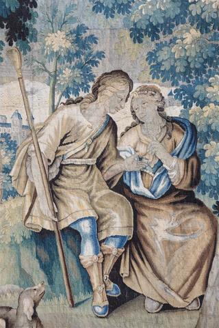 "AUBUSSON: Scene pastorale, tapisserie dite ""verdure"" de la fin XVIIe,"