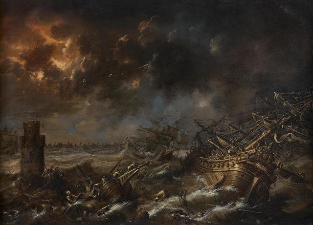 Christoph TREU (Bamberg 1739 - 1799) Navires dans la tempête, Paire