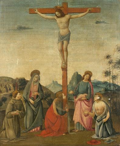 BARTOLOMEO DI GIOVANNI   (Florence vers 1499) Crucifixion entre saint
