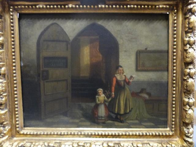 """LEYS Henri (1815-1869), attribué à  : """"jeune maman et sa fille sortant"""